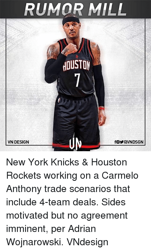 Carmelo Anthony, Houston Rockets, and New York Knicks: RUMOR MILL  OUSTO  VN DESIGN New York Knicks & Houston Rockets working on a Carmelo Anthony trade scenarios that include 4-team deals. Sides motivated but no agreement imminent, per Adrian Wojnarowski. VNdesign