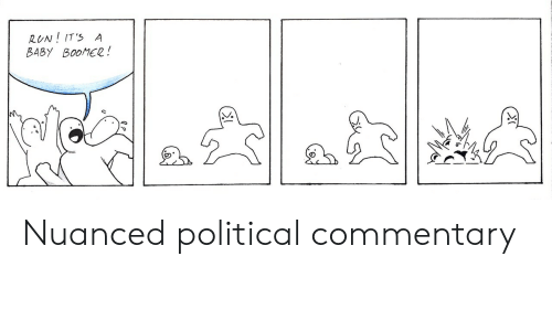 political commentary: RUN! IT' A  BABY BOOMER! Nuanced political commentary