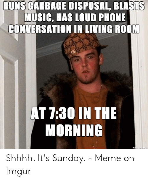 Its Sunday Meme: RUNS GARBAGE DISPOSAL, BLASTS  MUSIC, HAS LOUD PHONE  CONVERSATION IN LIVING ROOM  AT 7:30 IN THE  MORNING  made an imgur