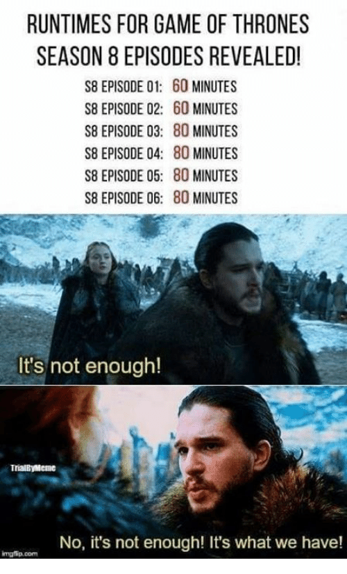 No Its Not: RUNTIMES FOR GAME OF THRONES  SEASON 8 EPISODES REVEALED!  S8 EPISODE 01: 60 MINUTES  S8 EPISODE 02: 60 MINUTES  S8 EPISODE 03: 80 MINUTES  S8 EPISODE 04: 80 MINUTES  S8 EPISODE 05: 80 MINUTES  S8 EPISODE 06: 80 MINUTES  It's not enough!  TrialByMeme  No, it's not enough! It's what we have!  mgfip.com
