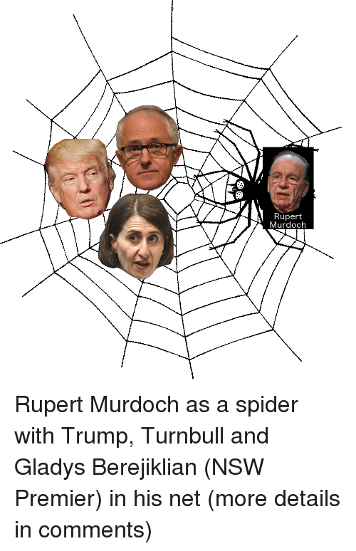 Gladys Berejiklian: Rupert  Murdoch Rupert Murdoch as a spider with Trump, Turnbull and Gladys Berejiklian (NSW Premier) in his net (more details in comments)