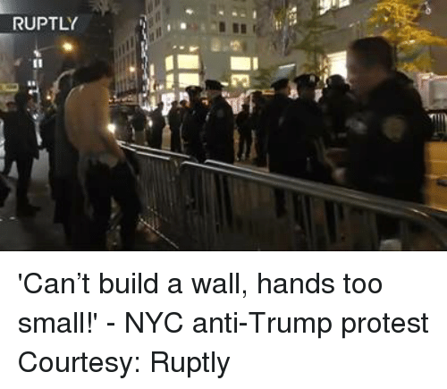 Dank, Protest, and Trump: RUPTLY 'Can't build a wall, hands too small!' - NYC anti-Trump protest Courtesy: Ruptly