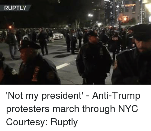 Dank, Protest, and Presidents: RUPTLY 'Not my president' - Anti-Trump protesters march through NYC Courtesy: Ruptly