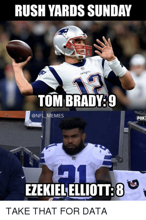 Memes, Nfl, and Tom Brady: RUSH YARDS SUNDAY  TOM BRADY:9  @NFL MEMES  FOX  EZEKIELELLIOTT:8 TAKE THAT FOR DATA