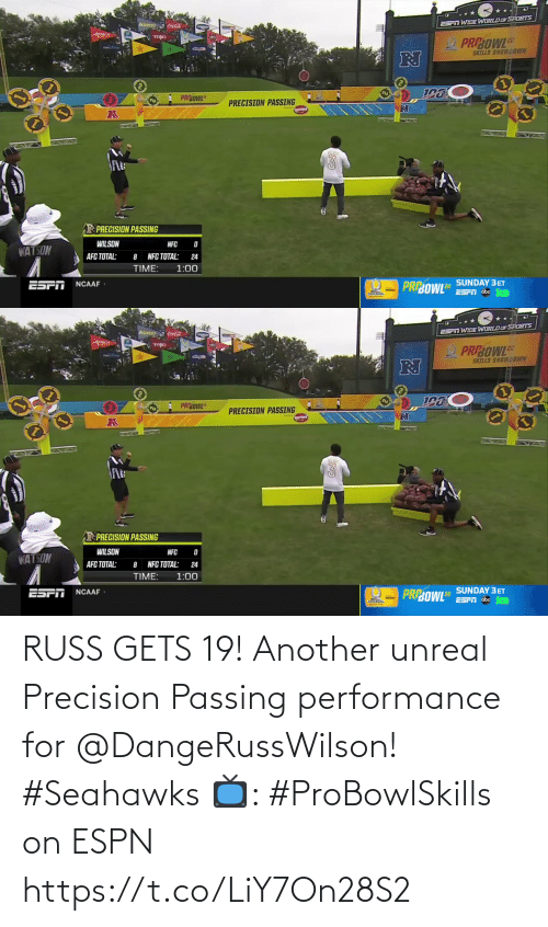 russ: RUSS GETS 19!  Another unreal Precision Passing performance for @DangeRussWilson! #Seahawks  📺: #ProBowlSkills on ESPN https://t.co/LiY7On28S2