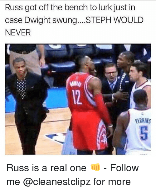 Stephe: Russ got off the bench to lurk just in  case Dwight swung..STEPH WOULD  NEVER Russ is a real one 👊 - Follow me @cleanestclipz for more