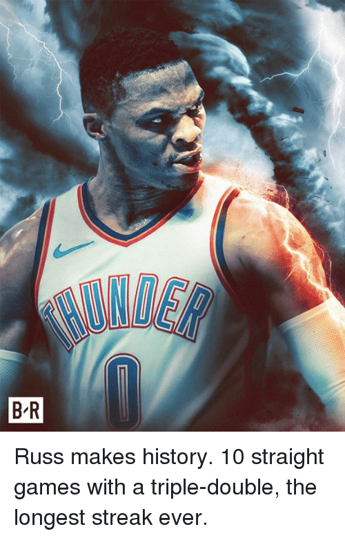 a triple double: Russ makes history. 10 straight games with a triple-double, the longest streak ever.