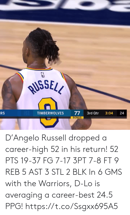 stl: RUSSELL  RS  77  BONUS  TIMBERWOLVES  3rd Qtr  3:04  24 D'Angelo Russell dropped a career-high 52 in his return!   52 PTS 19-37 FG 7-17 3PT 7-8 FT 9 REB 5 AST 3 STL 2 BLK   In 6 GMS with the Warriors, D-Lo is averaging a career-best 24.5 PPG!    https://t.co/Ssgxx695A5