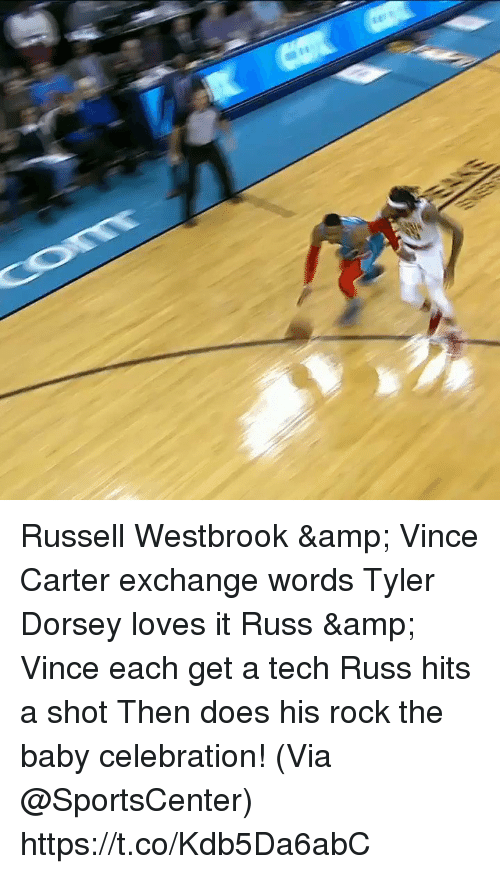 westbrook: Russell Westbrook & Vince Carter exchange words Tyler Dorsey loves it Russ & Vince each get a tech Russ hits a shot Then does his rock the baby celebration!   (Via @SportsCenter) https://t.co/Kdb5Da6abC