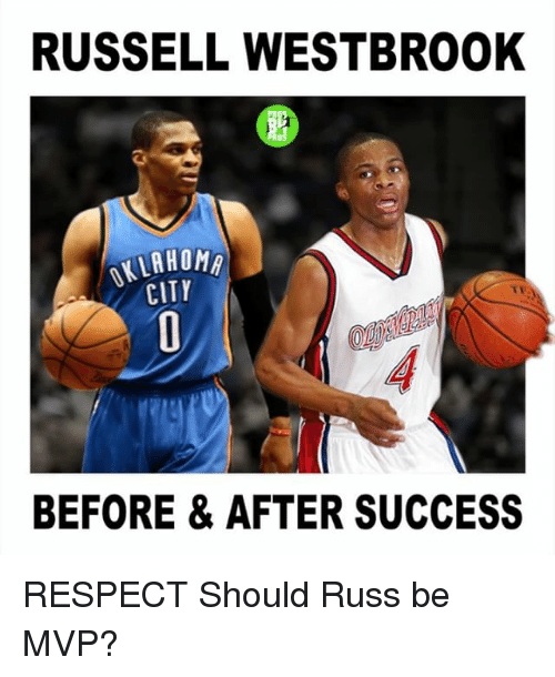 Memes, Respect, and Russell Westbrook: RUSSELL WESTBROOK  ARHOMA  CITY  BEFORE & AFTER SUCCESS RESPECT Should Russ be MVP?