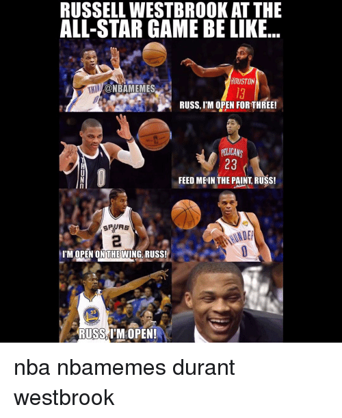 Russel Westbrook: RUSSELL WESTBROOK AT THE  ALL-STAR GAME BE LIKE  HOUSTON  RHONDA@NBAMEMES  RUSS, ITM OPEN FORTHREE!  PELICANS  23  FEED ME IN THE PAINT RUSS!  I'M OPEN ON THEWING RUSS!  35  RUSS IM OPEN! nba nbamemes durant westbrook