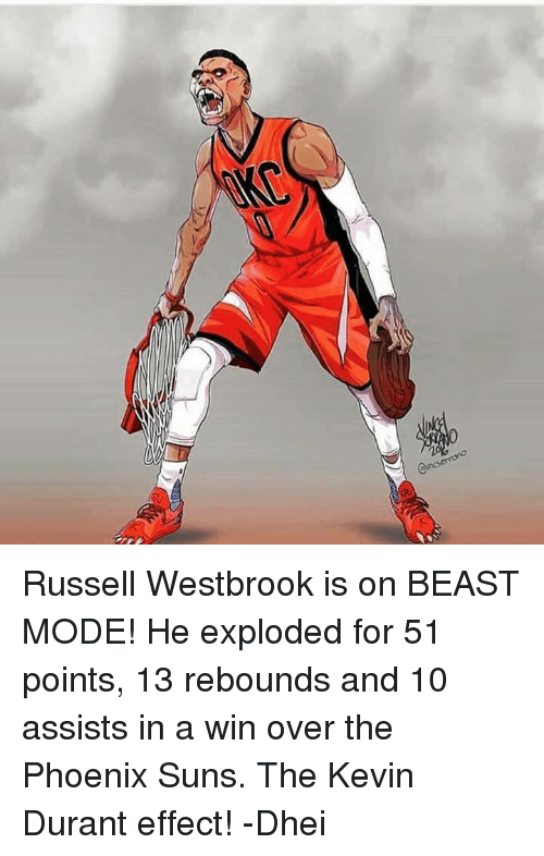 Phoenix Suns: Russell Westbrook is on BEAST MODE!  He exploded for 51 points, 13 rebounds and 10 assists in a win over the Phoenix Suns.  The Kevin Durant effect!  -Dhei