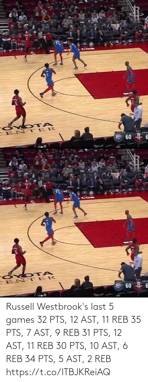 Russell: Russell Westbrook's last 5 games  32 PTS, 12 AST, 11 REB 35 PTS, 7 AST, 9 REB 31 PTS, 12 AST, 11 REB 30 PTS, 10 AST, 6 REB 34 PTS,  5 AST, 2 REB   https://t.co/lTBJKReiAQ