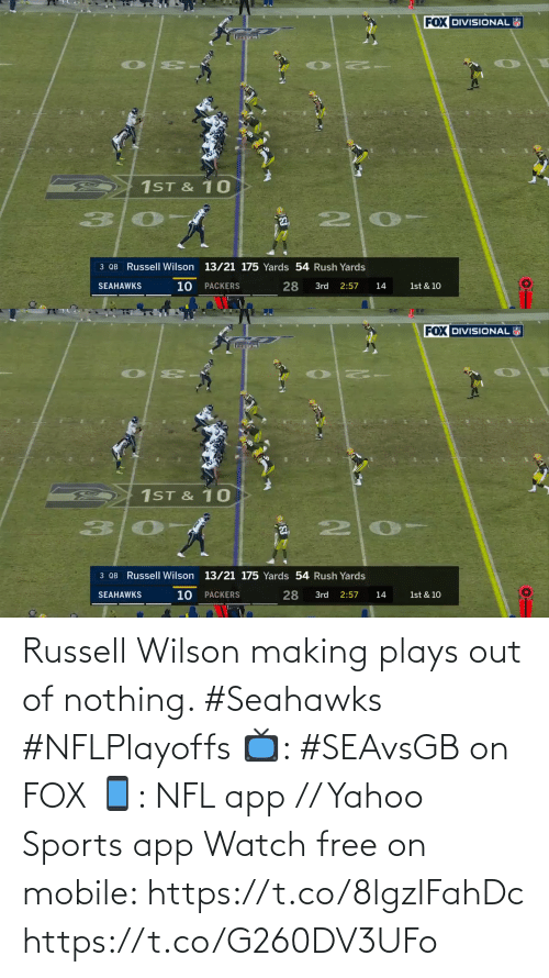 Russell Wilson: Russell Wilson making plays out of nothing. #Seahawks #NFLPlayoffs  📺: #SEAvsGB on FOX 📱: NFL app // Yahoo Sports app Watch free on mobile: https://t.co/8lgzlFahDc https://t.co/G260DV3UFo