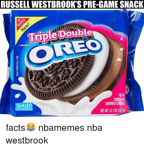 Basketball, Cookies, and Nba: RUSSELLWESTBROOK'S PRE-GAME SNACK  Triple Double  @NBAMEMES  ROD  CHOCOLATE  SANDWICH COOKIES  SEALED facts😂 nbamemes nba westbrook
