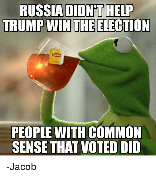 Trump Win: RUSSIA DIDNT HELP  TRUMP WIN THE ELECTION  PEOPLE WITH COMMON  SENSE THAT VOTED DID -Jacob