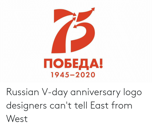 Russian: Russian V-day anniversary logo designers can't tell East from West