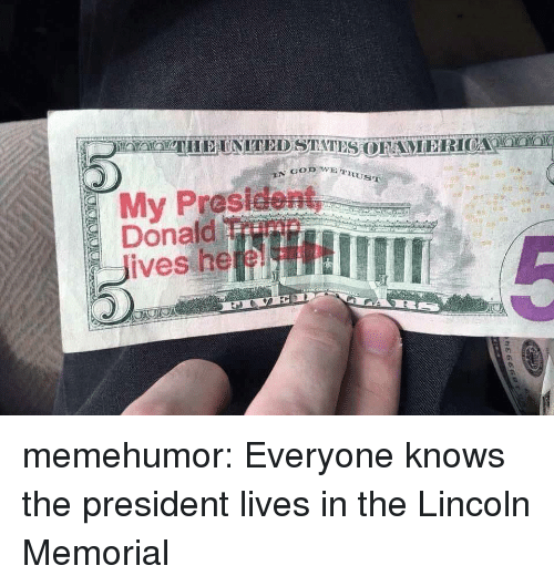 Memorial: RUST  My Prasident  Donaild Trimn  Jives heeL memehumor:  Everyone knows the president lives in the Lincoln Memorial
