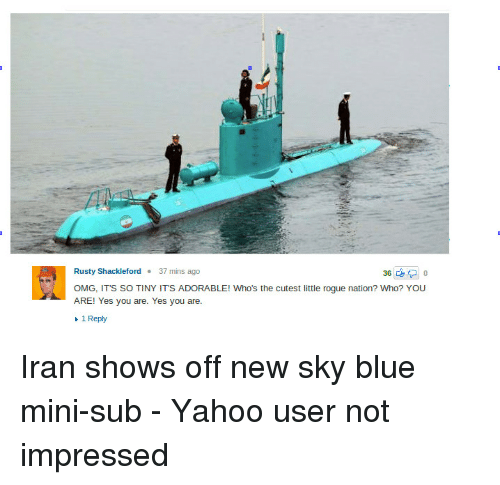 Funny, Omg, and Blue: Rusty Shackleford.37 mins ago  OMG, ITS SO TINY ITS ADORABLE! Who's the cutest little rogue nation? Who? YOU  ARE! Yes you are. Yes you are.  1 Reply Iran shows off new sky blue mini-sub - Yahoo user not impressed