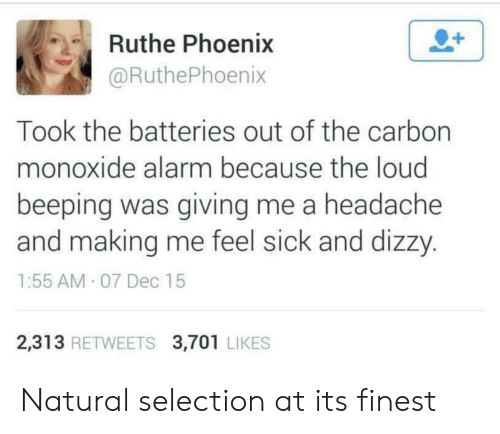 Feel Sick: Ruthe Phoenix  @RuthePhoenix  Took the batteries out of the carbon  monoxide alarm because the loud  beeping was giving me a headache  and making me feel sick and dizzy  1:55 AM 07 Dec 15  2,313 RETWEETS 3,701 LIKES Natural selection at its finest
