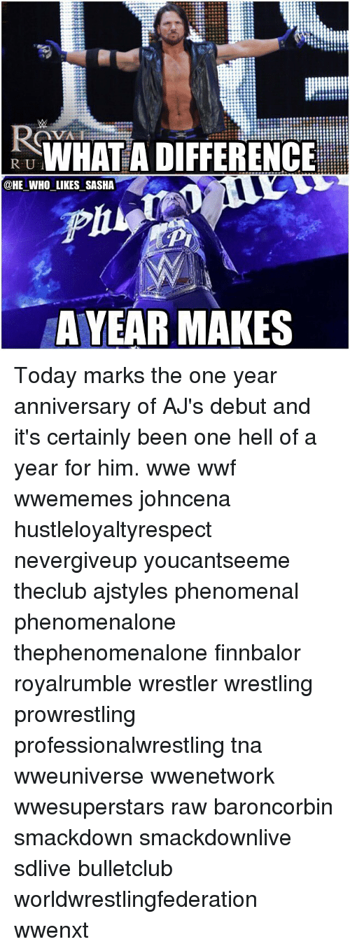 Memes, Phenomenal, and 🤖: RUWHAT A DIFFERENCE  @HE WHO LIKES SASHA  A YEAR MAKES Today marks the one year anniversary of AJ's debut and it's certainly been one hell of a year for him. wwe wwf wwememes johncena hustleloyaltyrespect nevergiveup youcantseeme theclub ajstyles phenomenal phenomenalone thephenomenalone finnbalor royalrumble wrestler wrestling prowrestling professionalwrestling tna wweuniverse wwenetwork wwesuperstars raw baroncorbin smackdown smackdownlive sdlive bulletclub worldwrestlingfederation wwenxt