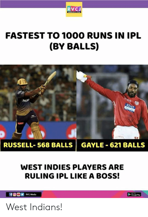 rvc: RVCJ  FASTEST TO 1000 RUNS IN IPL  (BY BALLS)  RUSSELL-568 BALLS | GAYLE-621 BALLS  WEST INDIES PLAYERS ARE  RULING IPL LIKE A BOSS!  RVC Media West Indians!