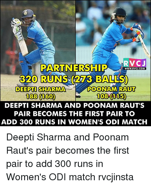 Memes, 300, and Match: RVCJ  PARTNERSHIP  WWW. RVCJ.COM  3200 RUNS (273 BALLS)  DEEPTI SHARMA  POONAM RAUT  1083 150  188 (160)  DEEPTI SHARMA AND POONAM RAUT'S  PAIR BECOMES THE FIRST PAIR TO  ADD 300 RUNS IN WOMEN'S ODI MATCH Deepti Sharma and Poonam Raut's pair becomes the first pair to add 300 runs in Women's ODI match rvcjinsta