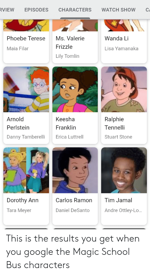 The Magic School Bus: RVIEW  EPISODES  CHARACTERS  WATCH SHOW  C.  Phoebe Terese  Ms. Valerie  Wanda Li  Frizzle  Maia Filar  Lisa Yamanaka  Lily Tomlin  Keesha  Arnold  Ralphie  Tennelli  Perlstein  Franklin  Erica Luttrell  Danny Tamberelli  Stuart Stone  Carlos Ramon  Tim Jamal  Dorothy Ann  Andre Ottley-L..  Tara Meyer  Daniel DeSanto This is the results you get when you google the Magic School Bus characters