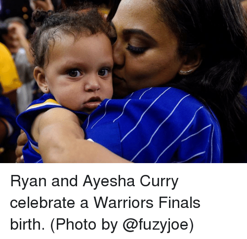 Ayesha Curry, Basketball, and Finals: Ryan and Ayesha Curry celebrate a Warriors Finals birth. (Photo by @fuzyjoe)