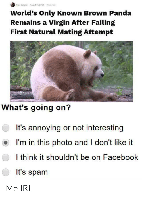 failing: Ryan General  August 31,2018 3min read  World's Only Known Brown Panda  Remains a Virgin After Failing  First Natural Mating Attempt  What's going on?  It's annoying or not interesting  I'm in this photo and I don't like  I think it shouldn't be on Facebook  It's spam Me IRL