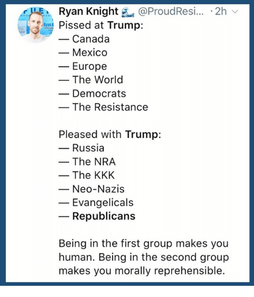 the resistance: Ryan Knight @ProudResi.. 2h  Pissed at Trump:  -Canada  - Mexico  ーEurope  - The World  Democrats  The Resistance  Pleased with Trump:  - Russia  -The NRA  - The KKK  Neo-Nazis  Evangelicals  Republicans  Being in the first group makes you  human. Being in the second group  makes you morally reprehensible.