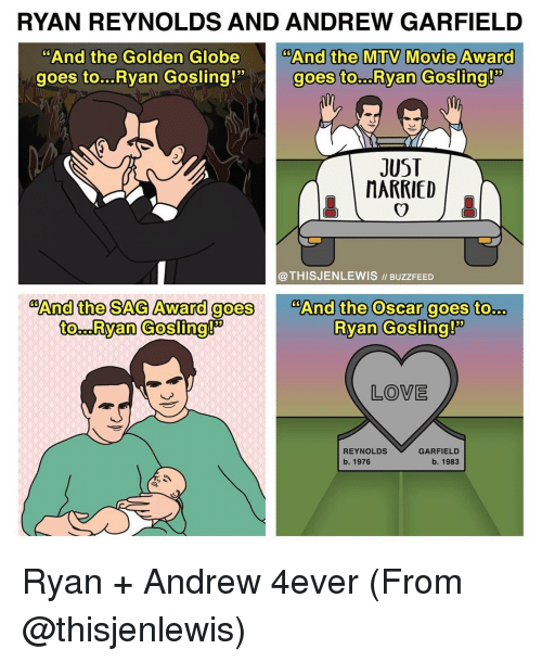 "Golden Globes, Memes, and Mtv: RYAN REYNOLDS AND ANDREW GARFIELD  And the Golden Globe  And the MTV Movie Award  goes to...Ryan Gosling!""  goes to. Ryan Gosling!  JUST  MARRIED  @THISJENLEWIS ll Buzz FEED  COAnd the SAG Award goes  And the Oscar goes to  Ryan Gosling!  to. Ryan Gosling!  LOVE  REYNOLDS  GARFIELD  b., 1976  b., 1983 Ryan + Andrew 4ever (From @thisjenlewis)"