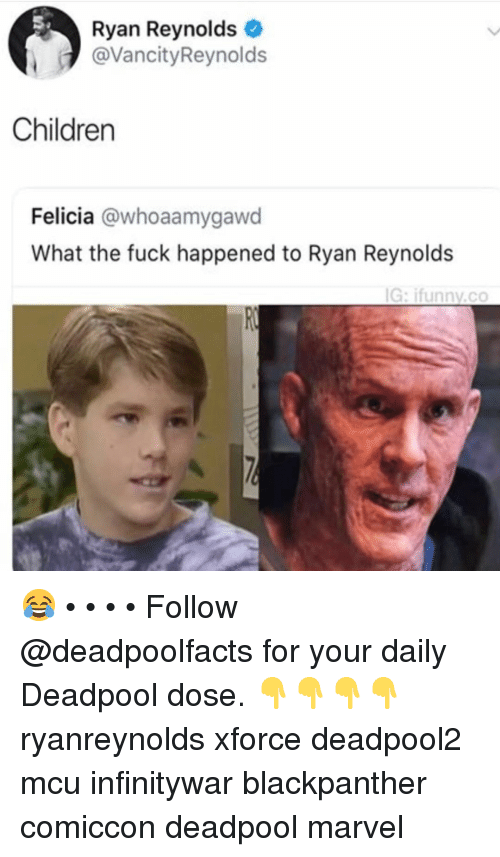 What The Fuck Happened: Ryan Reynolds  @VancityReynolds  Children  Felicia @whoaamygawd  What the fuck happened to Ryan Reynolds  G: ifunnv.co 😂 • • • • Follow @deadpoolfacts for your daily Deadpool dose. 👇👇👇👇 ryanreynolds xforce deadpool2 mcu infinitywar blackpanther comiccon deadpool marvel