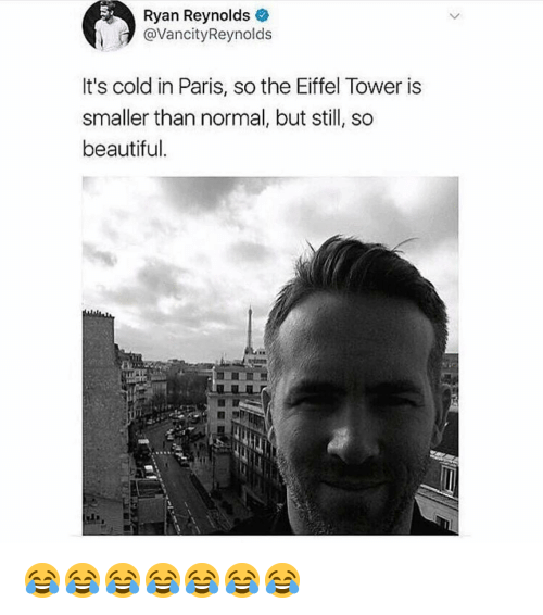 Eiffel Tower: Ryan Reynolds  @VancityReynolds  It's cold in Paris, so the Eiffel Tower is  smaller than normal, but still, so  beautiful. 😂😂😂😂😂😂😂