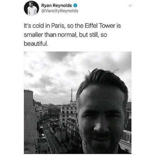 it's cold: Ryan Reynolds  @VancityReynolds  It's cold in Paris, so the Eiffel Tower is  smaller than normal, but still, so  beautiful.