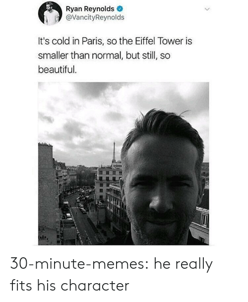 it's cold: Ryan Reynolds  @VancityReynolds  It's cold in Paris, so the Eiffel Tower is  smaller than normal, but still, so  beautiful 30-minute-memes:  he really fits his character