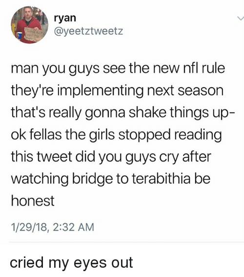 Girls, Ironic, and Nfl: ryan  @yeetztweetz  man you guys see the new nfl rule  they're implementing next season  that's really gonna shake things up-  ok fellas the girls stopped reading  this tweet did you guys cry after  watching bridge to terabithia be  honest  1/29/18, 2:32 AM cried my eyes out