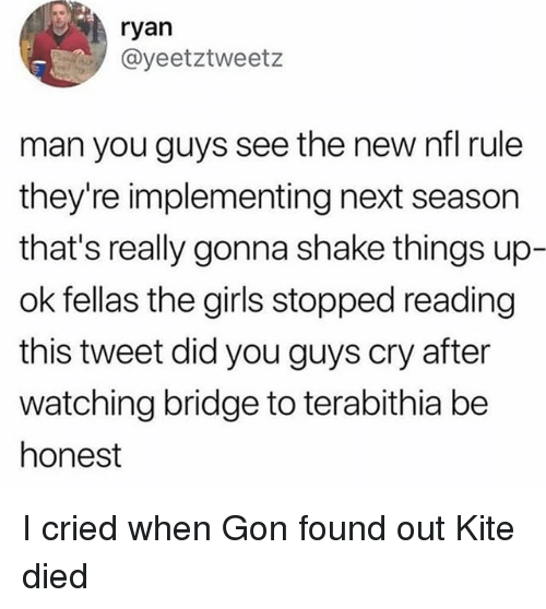 Girls, Memes, and Nfl: ryan  @yeetztweetz  man you guys see the new nfl rule  they're implementing next season  that's really gonna shake things up-  ok fellas the girls stopped reading  this tweet did you guys cry after  watching bridge to terabithia be  honest I cried when Gon found out Kite died