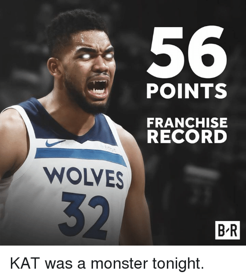 Monster, Record, and Wolves: s 56  POINTS  FRANCHISE  RECORD  WOLVES  B R KAT was a monster tonight.