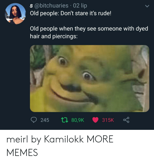 lip: s@bitchuaries 02 lip  Old people: Don't stare it's rude!  Old people when they see someone with dyed  hair and piercings:  ti 80,9K  245  315K meirl by Kamilokk MORE MEMES