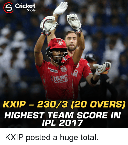 Memes, Cricket, and 🤖: S Cricket  Shots  SON  HERO  KXIP 230/3 (20 OVERSU  HIGHEST TEAM SCORE IN  IPL 2017 KXIP posted a huge total.