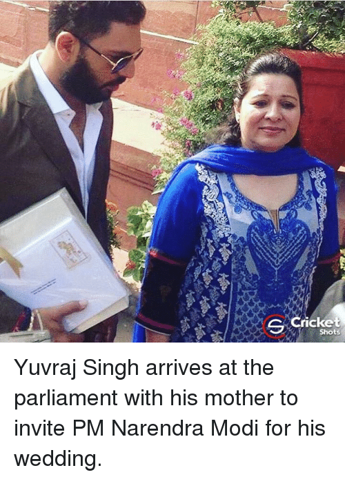 Memes, Cricket, and Wedding: S Cricket  Shots Yuvraj Singh arrives at the parliament with his mother to invite PM Narendra Modi for his wedding.