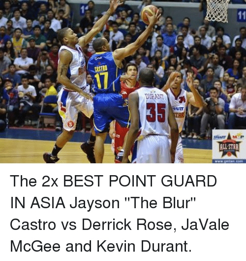 All Star, Derrick Rose, and Kevin Durant: s  JASTRO  DURANT  swer-MP  ALL STAR The 2x BEST POINT GUARD IN ASIA Jayson ''The Blur'' Castro vs Derrick Rose, JaVale McGee and Kevin Durant.