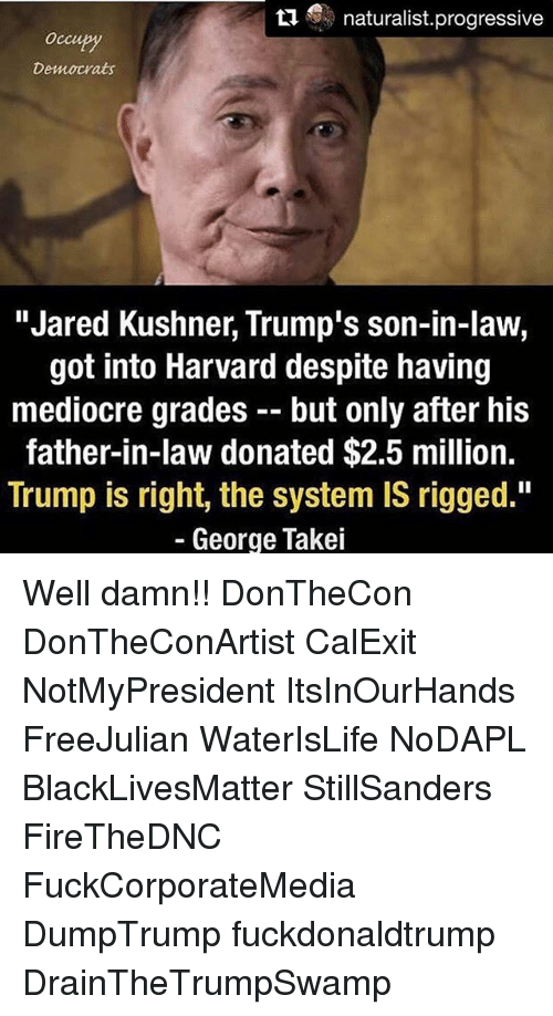 """Mediocre, Memes, and Harvard: S naturalist progressive  Democrats  """"Jared Kushner, Trump's son-in-law,  got into Harvard despite having  mediocre grades but only after his  father-in-law donated $2.5 million.  Trump is right, the system IS rigged.""""  George Takei Well damn!! DonTheCon DonTheConArtist CalExit NotMyPresident ItsInOurHands FreeJulian WaterIsLife NoDAPL BlackLivesMatter StillSanders FireTheDNC FuckCorporateMedia DumpTrump fuckdonaldtrump DrainTheTrumpSwamp"""