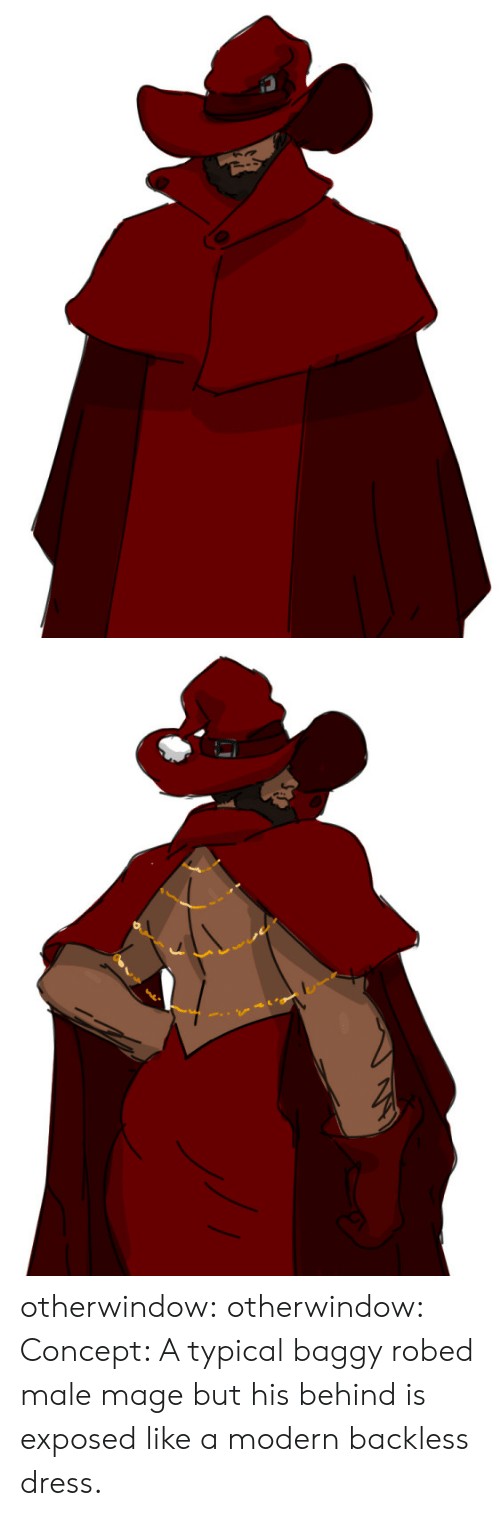 mage: S otherwindow:  otherwindow:  Concept: A typical baggy robed male mage but his behind is exposed like a modern backless dress.