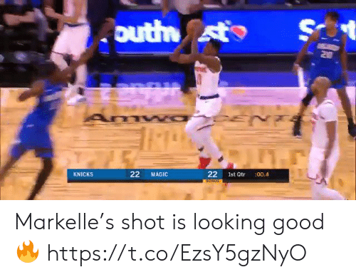 New York Knicks: S  outh st  Z0  22  KNICKS  MAGIC  Ist Qtr  :00.4  22 Markelle's shot is looking good🔥 https://t.co/EzsY5gzNyO