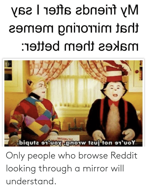 Uoy: (s2 | 19ts abn9int yM  гemem рrіпотim isii  :19ed ment г9Asm  wItAMA  biqutz uoY enoiw tzuj ton 1'uoY Only people who browse Reddit looking through a mirror will understand.