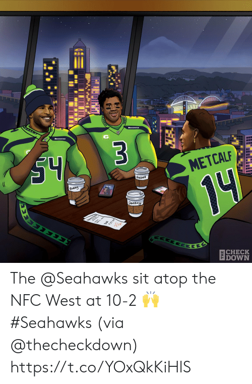 Nfc West: S4  $3  (C  METCALF  Russel  Bobby  14  Deckay  ΣΣ  37.30  ΕΚΕ  |CHECK  DOWN The @Seahawks sit atop the NFC West at 10-2 🙌 #Seahawks  (via @thecheckdown) https://t.co/YOxQkKiHlS