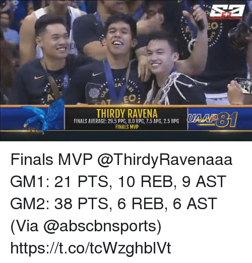 rpg: Sa  o:  EA  THIRDY RAVENA  FINALS AVERAGE: 29.5 PPG, 8.0 RPG, 7.5 APG, 2.5 BPG  FINALS MVP Finals MVP @ThirdyRavenaaa   GM1: 21 PTS, 10 REB, 9 AST GM2: 38 PTS, 6 REB, 6 AST  (Via @abscbnsports)    https://t.co/tcWzghblVt