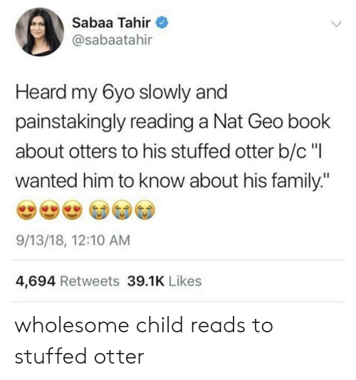 "Otters: Sabaa Tahir  @sabaatahir  Heard my 6yo slowly and  painstakingly reading a Nat Geo book  about otters to his stuffed otter b/c""l  wanted him to know about his family:""  9/13/18, 12:10 AM  4,694 Retweets 39.1K Likes wholesome child reads to stuffed otter"